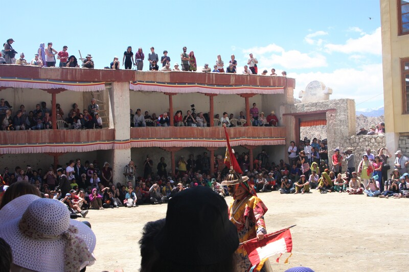 The mask dances take place in the courtyard.